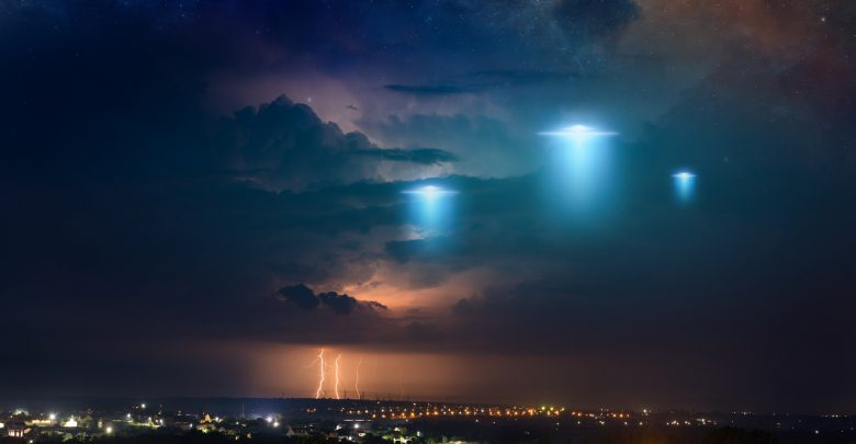 An image showing strange lights in the sky. Shutterstock.