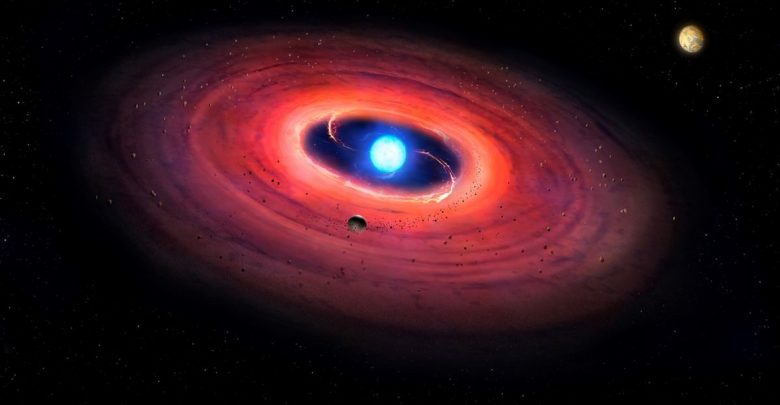 An artist's rendering of a white dwarf with a planet (upper right). Image Credit: Mark Garlick.