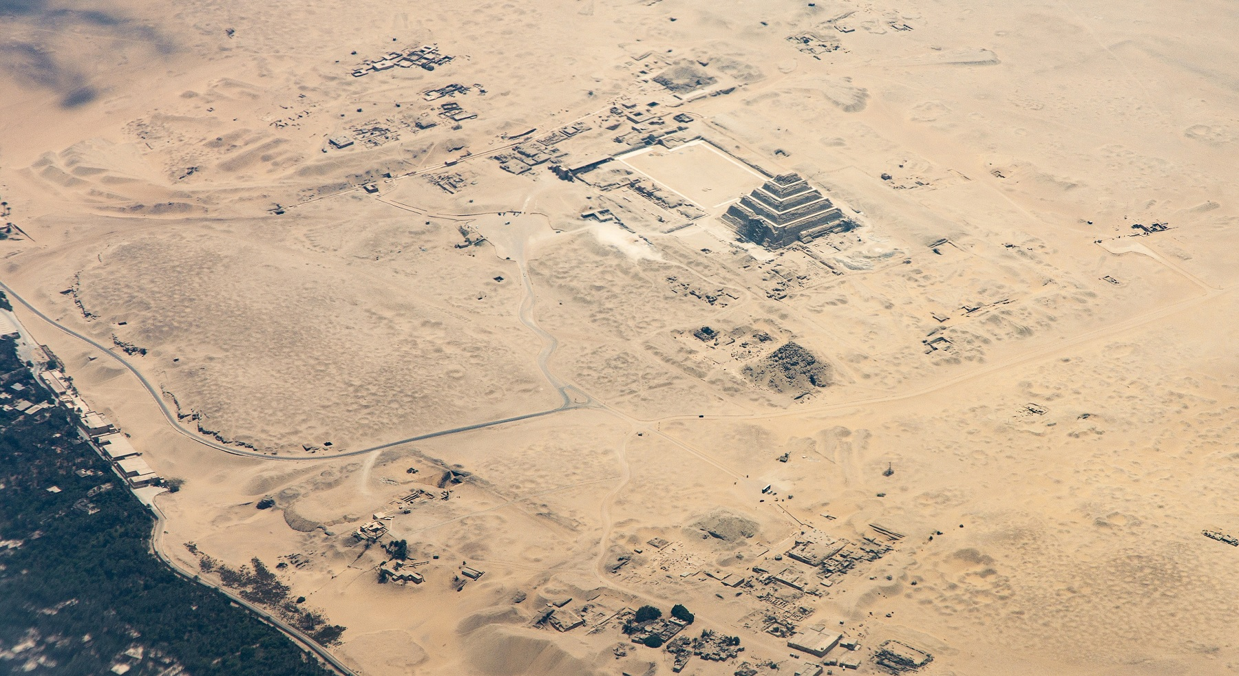 Aerial view of the Step Pyramid of Djoser at Saqqara. Shutterstock.