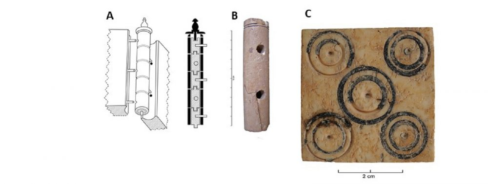 (A) Illustration of hinge (© S. Sorin, CNRS, CEPAM), based on Deschler-Erb 1998. (B) Hinge from Nice (Transfert Masséna; Alpes-Maritimes, sample MR6258). (C) Decorative plaque from Narbonne (sample MR6253). Photos © J.-D. Strich, CNRS, CEPAM, and I. Rodet-Belarbi, INRAP, CEPAM.
