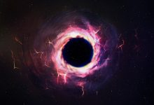 An artists rendering of a black hole in the cosmos. Shutterstock.