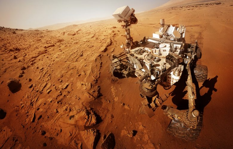 An image of the Mars rover on Mars. Shutterstock.