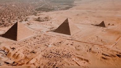 Aerial view of the Giza Pyramids. Image Credit: Drone Snap / Mareen El Masry, q8engr76 / Bahaa Sabry / YouTube.