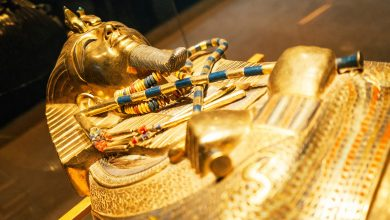 The Golden mask of an ancient Egyptian Pharaoh. Shutterstock