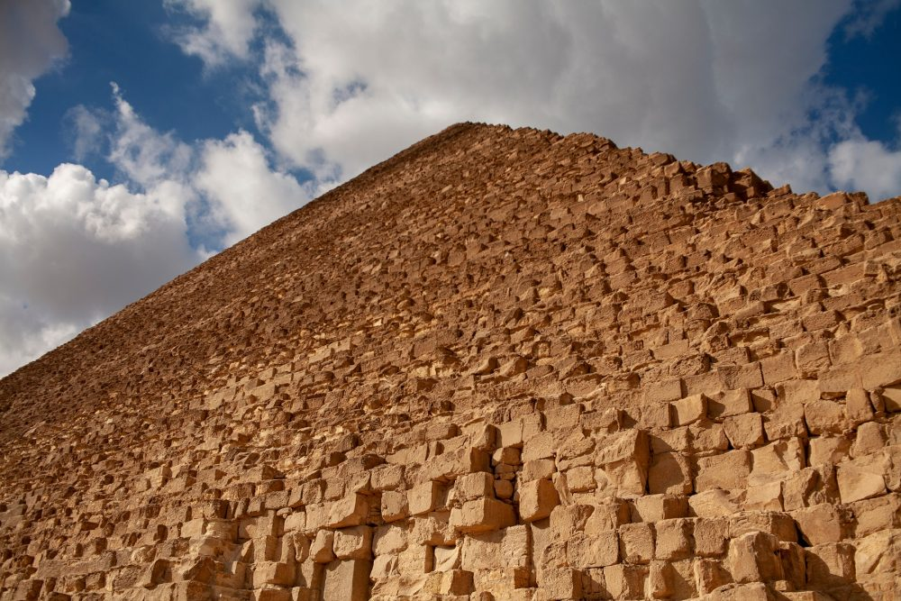 A view of the Great Pyramid rising towards the sky. Shutterstock.