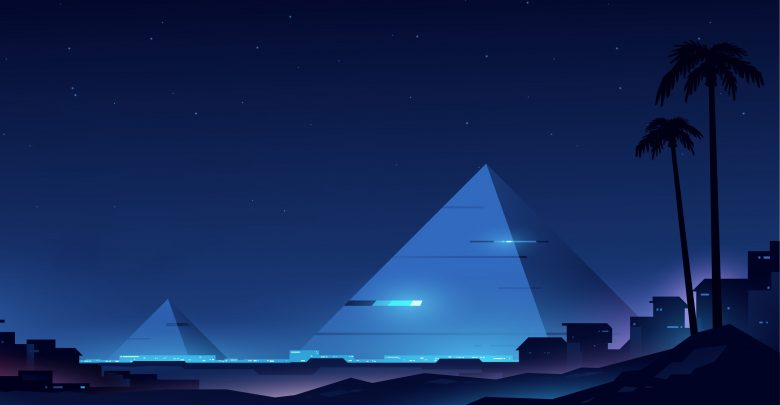 An artists illustration of futuristic pyramids. Shutterstock.