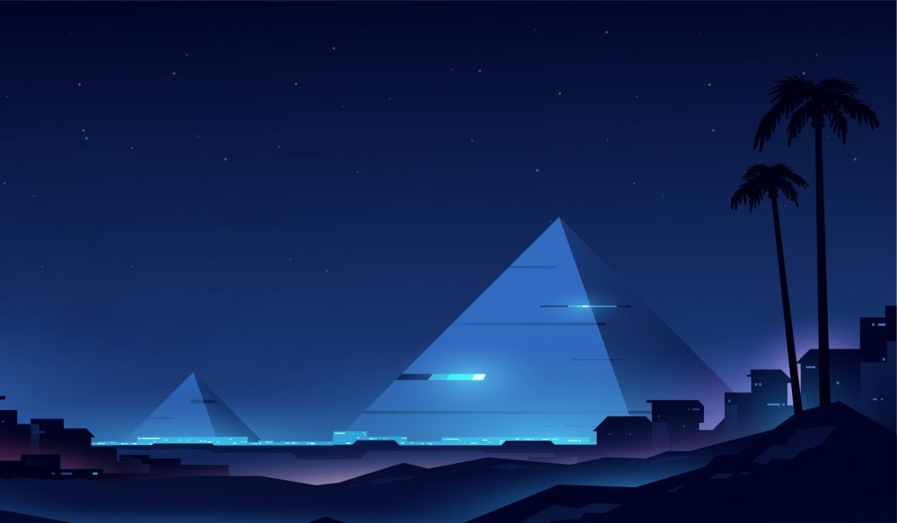 An artists illustration of futuristic pyramids. Shutterstock.