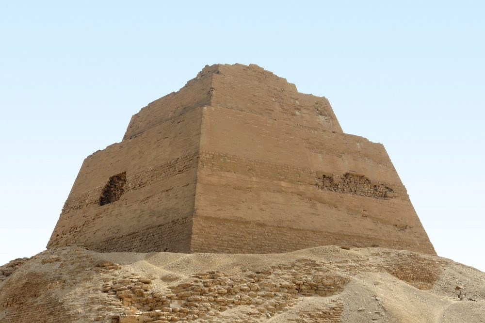 The Pyramid of Meidum surrounded by rubble. Shutterstock.