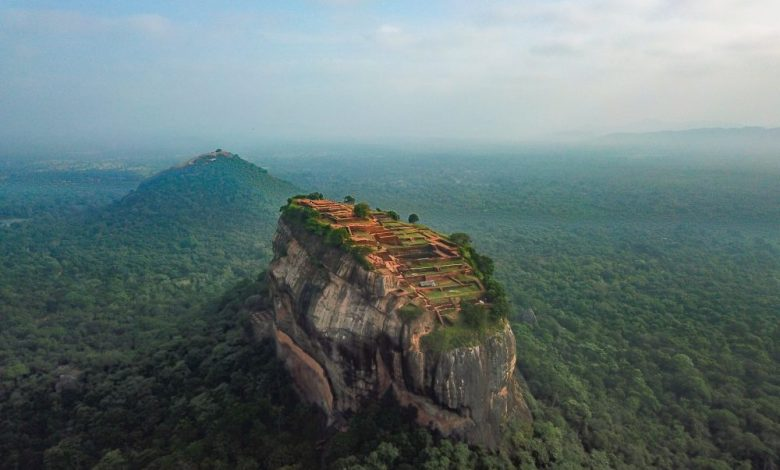 Aerial view of the Sky Fortress of Sigiriya in Sri Lanka. Shutterstock.