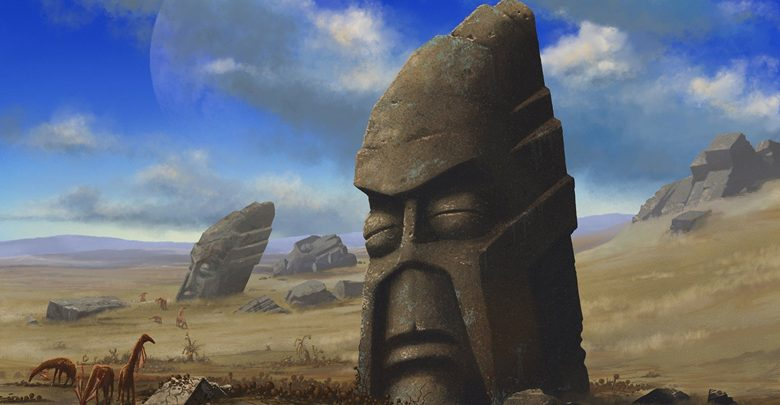 An artists illustration of ancient monuments on a distant world. Image Credit: University of Rochester illustration / Michael Osadciw.