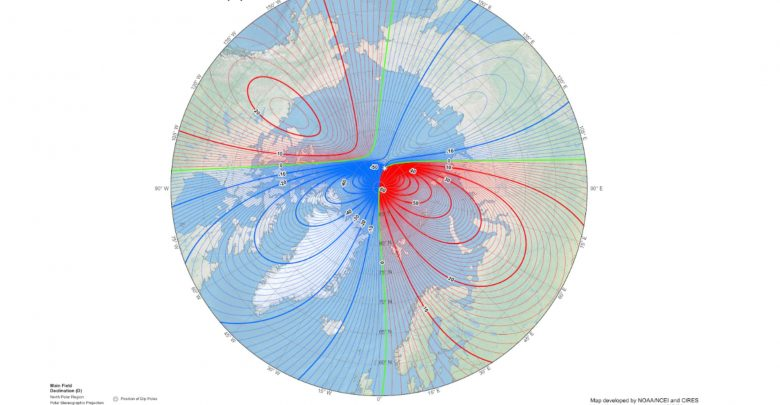 An image of Earth's North Magnetic Pole. Image Credit: NOAA / CIRES.