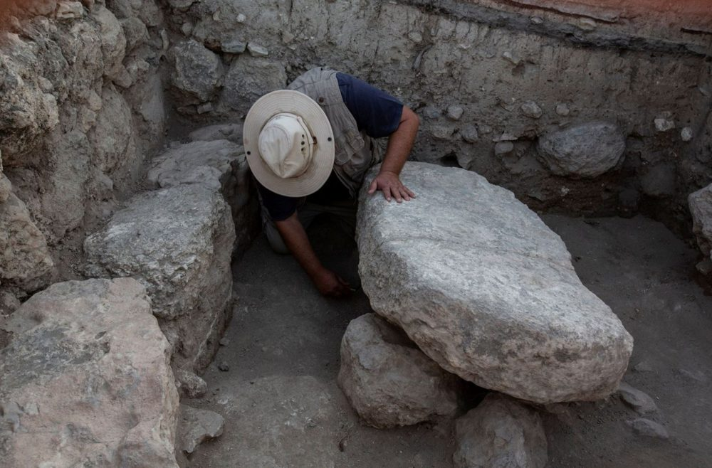 An image of the alleged stone table where the Ark of the Covenant once sat. Image Credit: Israel Antiquities Authority.