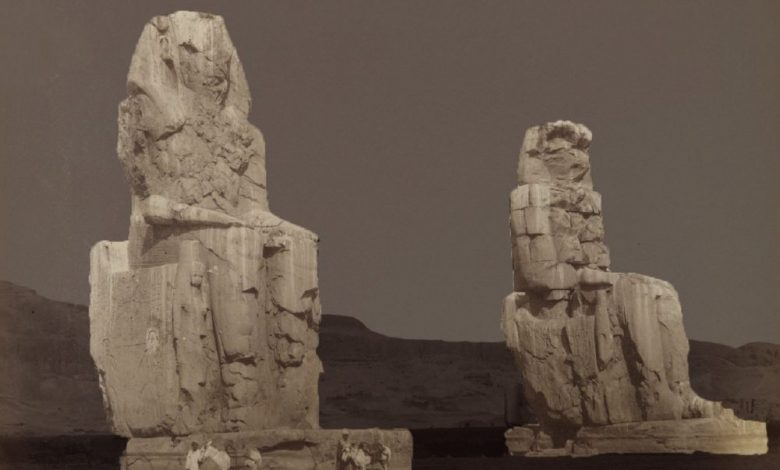An image of the Colossi of Memnon by Antonio Beato. 19th century. Image Credit: Brooklyn Museum.