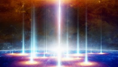 An artists rendering of light beams. Shutterstock.