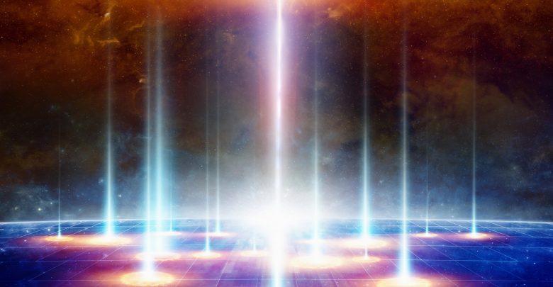 An artists rendering of light beams. Shutterstock.
