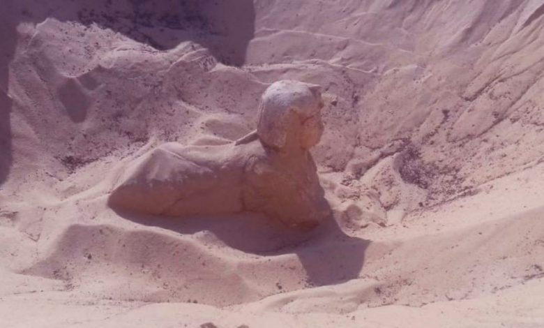 An image of the buried Sphinx discovered in Minya. Image Credit: Egyptian Ministry of Antiquities.