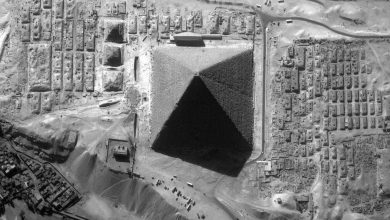 An aerial view of the Great Pyramid showing its eight sides.