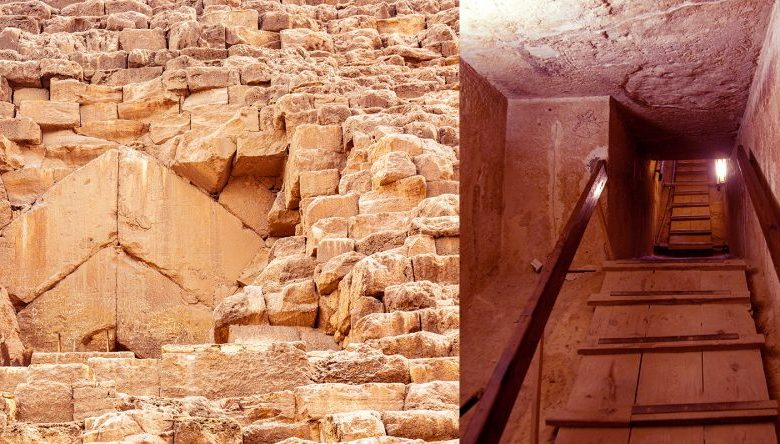 An image collage with the entrance of the Great Pyramid of Giza and one of its interior chambers. Shutterstock.