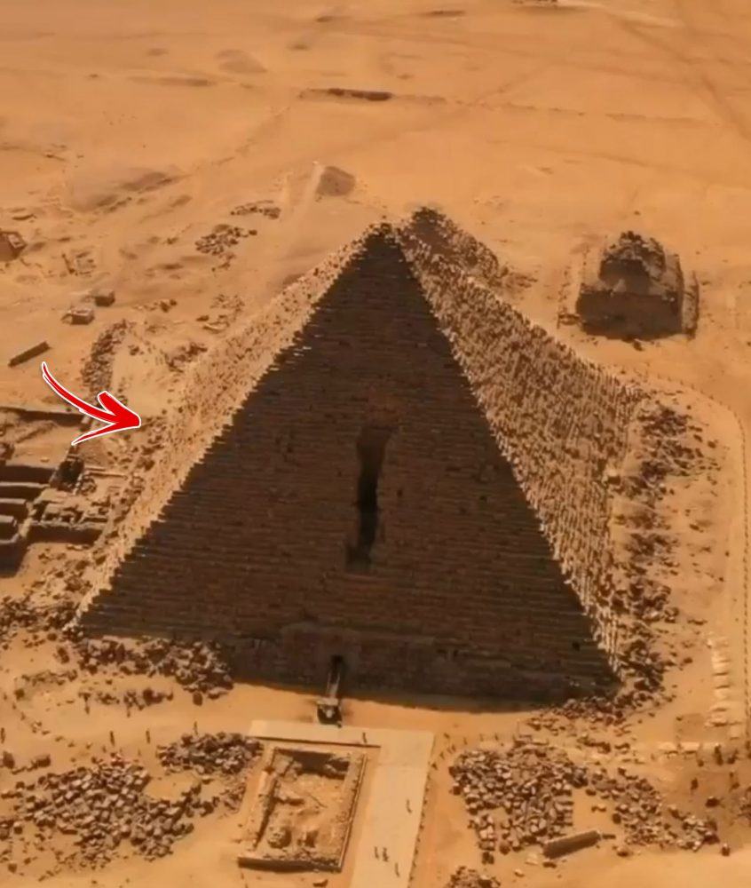 The Pyramid of Menkaure with what appears to be a possible hollowing in the pyramids side.