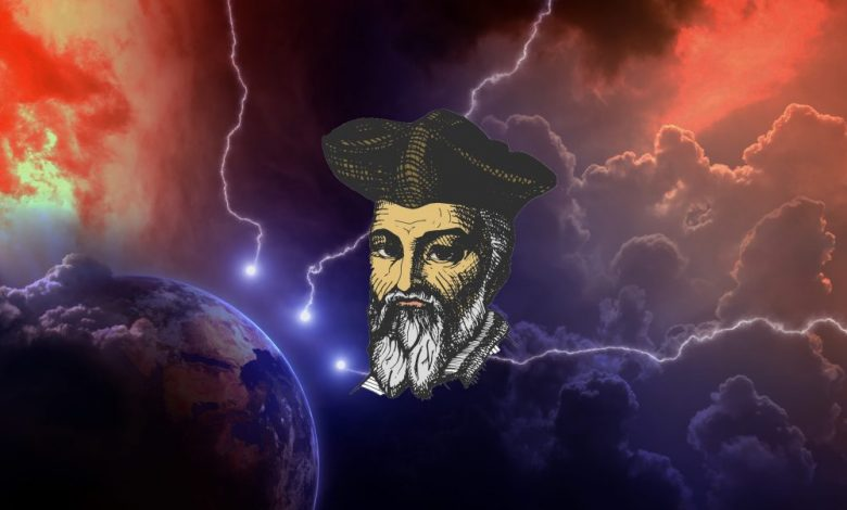 An artists rendering of the planet struck by lighting from space, and the face of Nostradamus. Shutterstock.