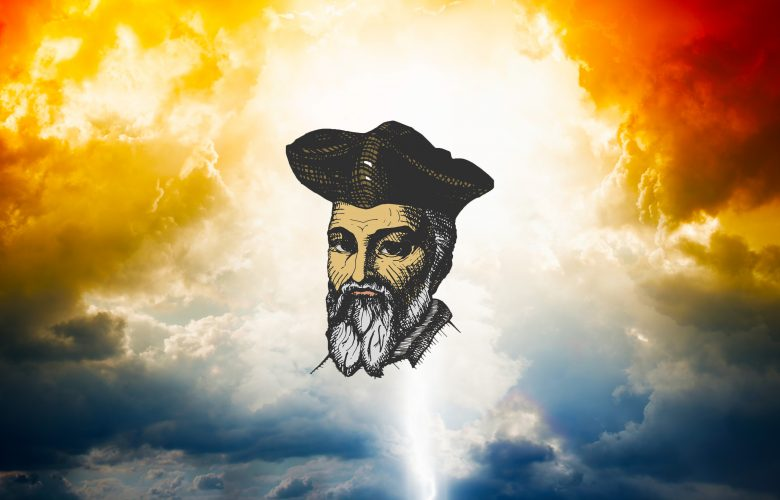 An artists illustration of Nostradamus with clouds in the background. Shutterstock.