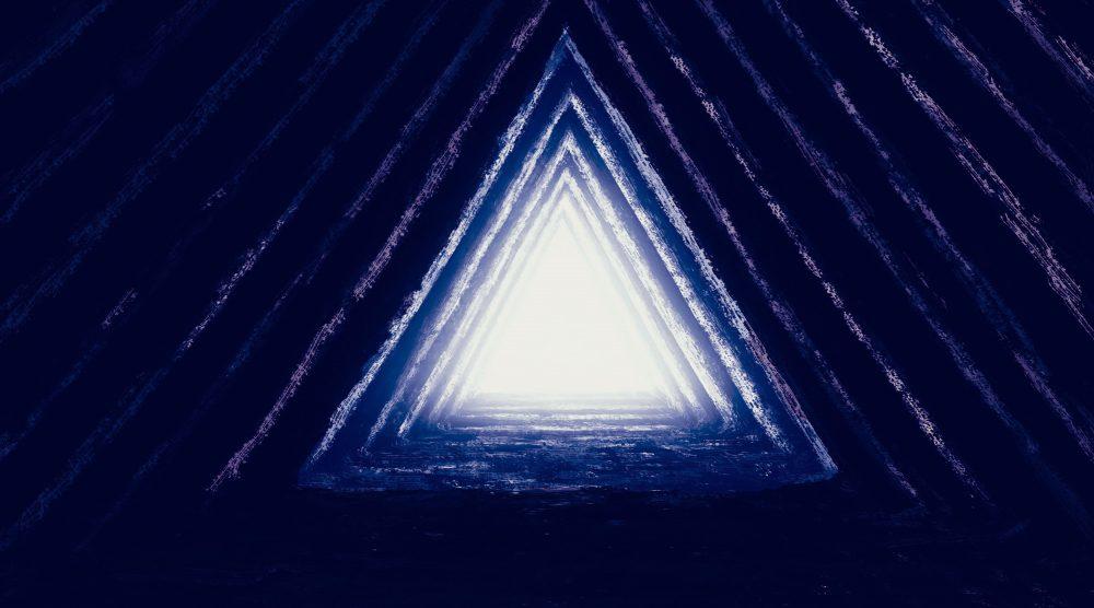 An artists rendering of light inside a pyramid. Shutterstock.