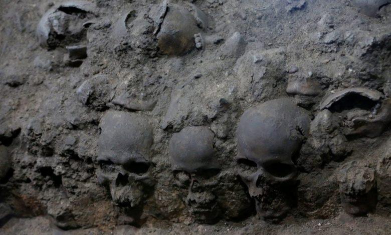 An image of the skulls of the Tzompantli at Tenochtitlan. Image Credit: REUTERS / Henry Romero.