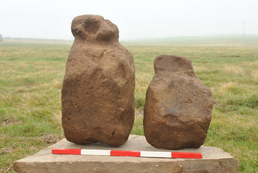 Two of the figurines before cleaning, Finstown, Orkney. Photo ORCA Archaeology