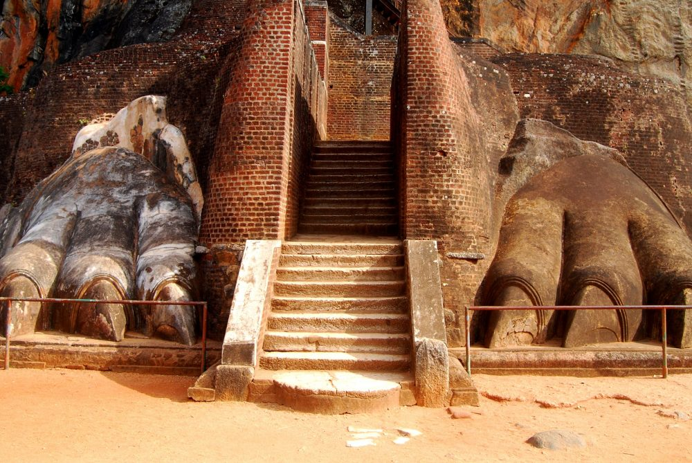 An image of the Lion's Paws at Sigiriya. Shutterstock.