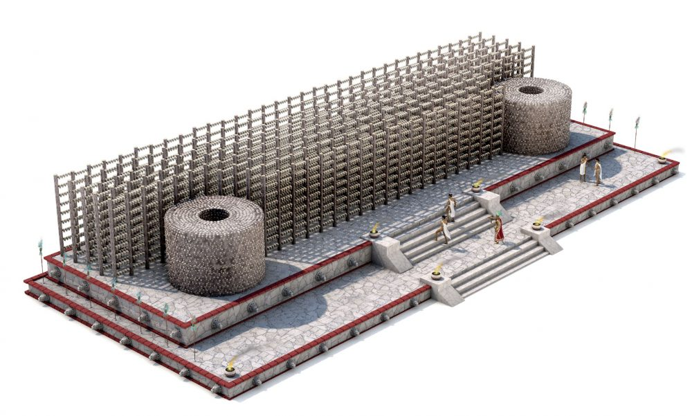 A close-up of the artists rendering of the Tzompantli. Image Credit: Science / Lizzie Wade, Alberto Cuadra, Chris Bickel, Jia You.