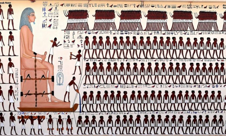 An artists recreation of the scene depicted inside the tomb of Djehutihotep . Image Credit: Wikimedia Commons / CC BY-SA 4.0.