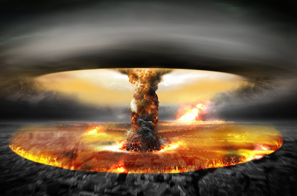 An artists rendering of a nuclear blast. Shutterstock.