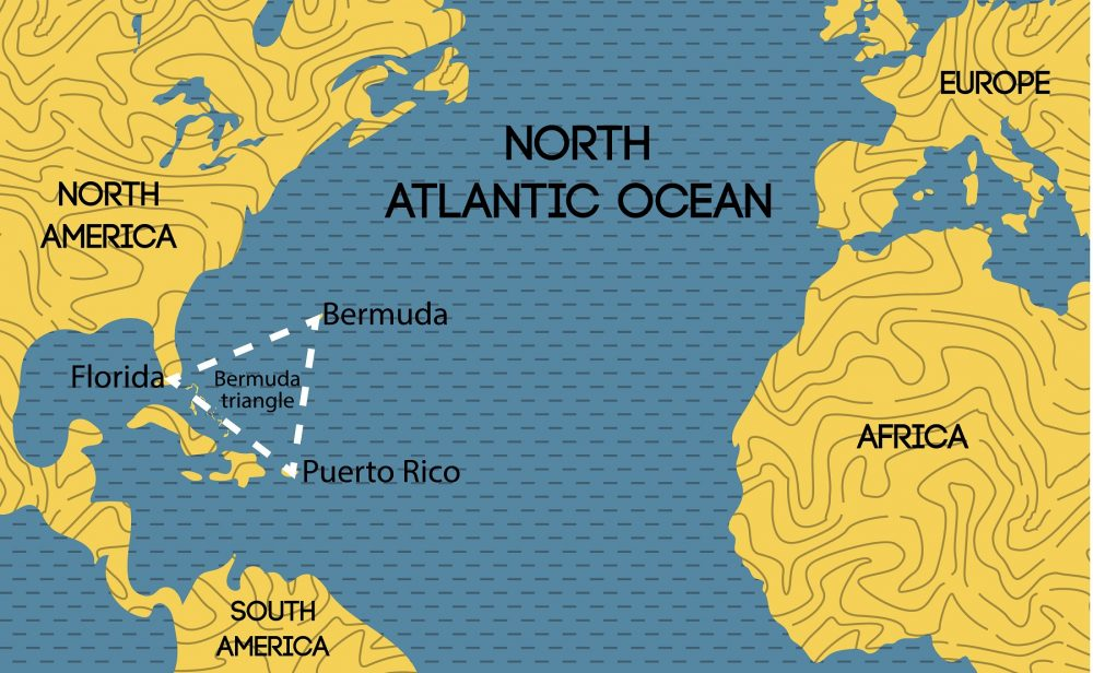 A map showing the location of the Bermuda Triangle. Shutterstock.
