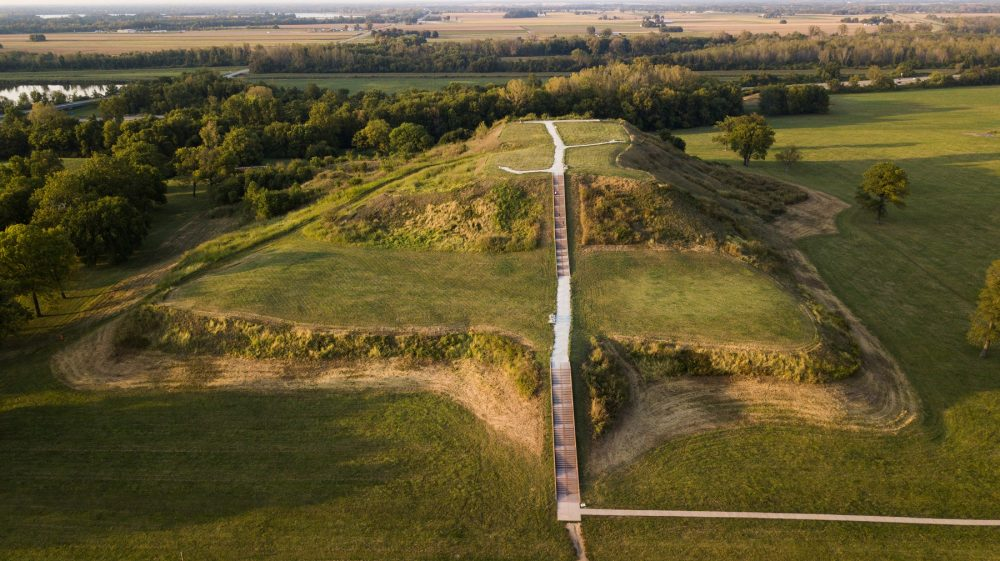 An aerial view of Monk's Mound at Cahokia. Shutterstock.