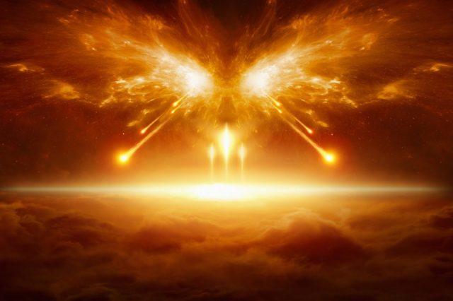 An artists rendering of a cosmic fire. Shutterstock.