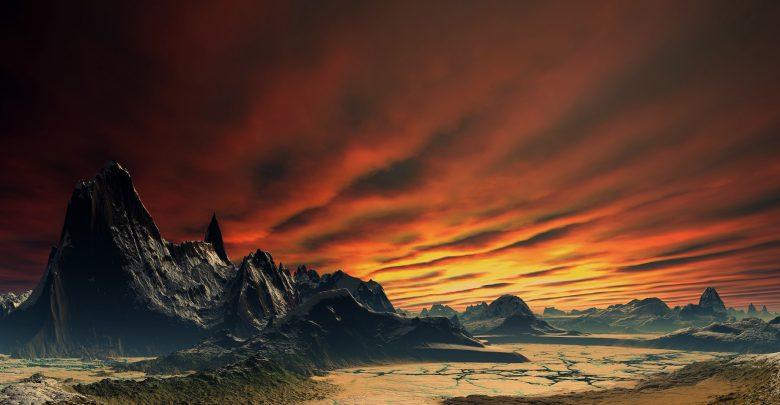 An artists rendering of the surface of an alien world. Shutterstock.