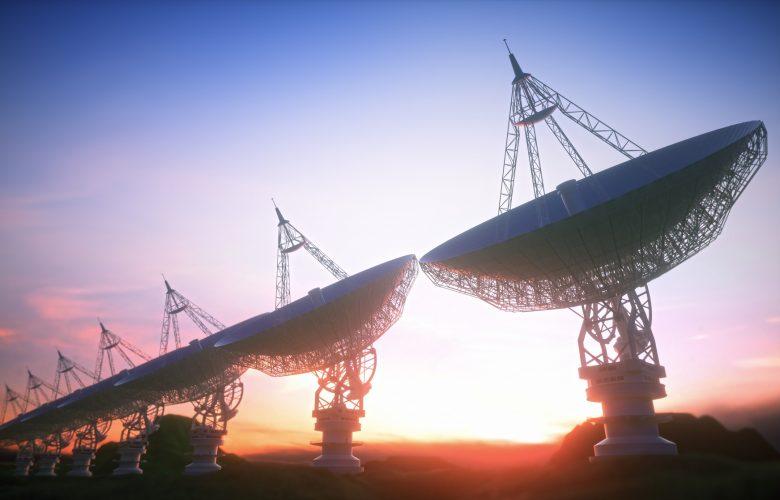 An artist's illustration of seven ground-based telescopes. Shutterstock.