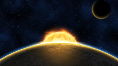 Artists rendering of a distant exoplanet orbiting a star similar to the Sun. Shutterstock.
