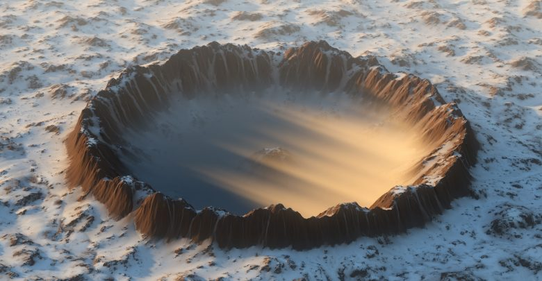 An artists rendering of an impact crater covered in ice. Shutterstock.
