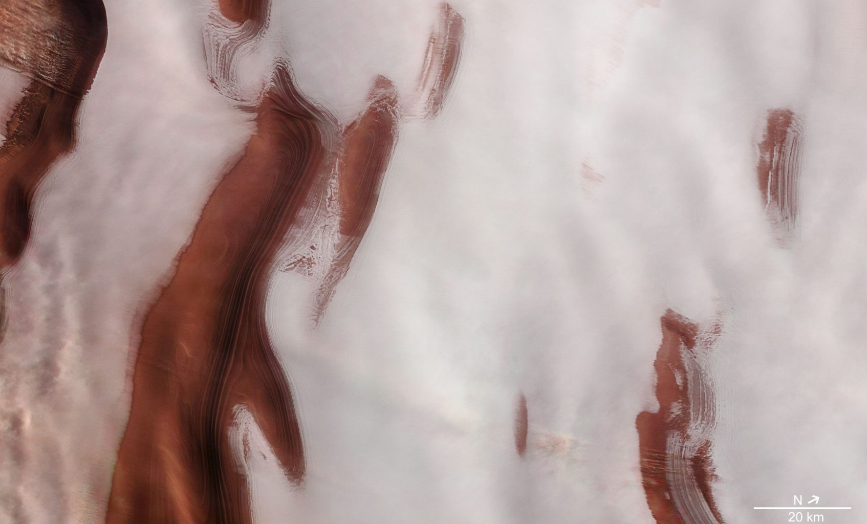 An image showing Mars' North Pole covered in Ice. Image Credit: ESA.