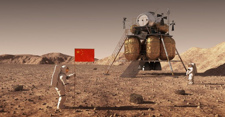 Illustration of Chinese astronauts on Mars. Shutterstock.