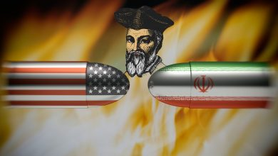 Artists rendering of bullets from different countries and Nostradamus in the middle. A prediction of War? Shutterstock.