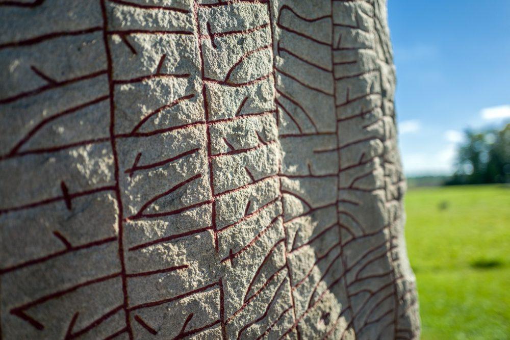 A close-up image of the Rok Runestone. Shutterstock.