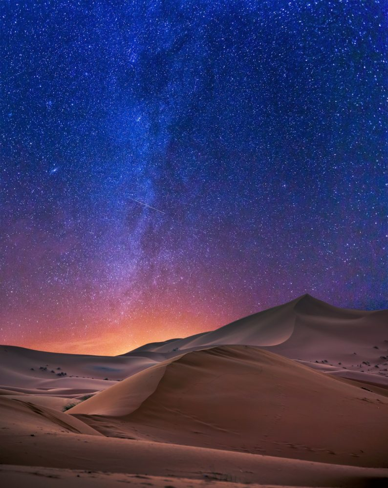 An image of the Sahara Desert and the night sky. Shutterstock.