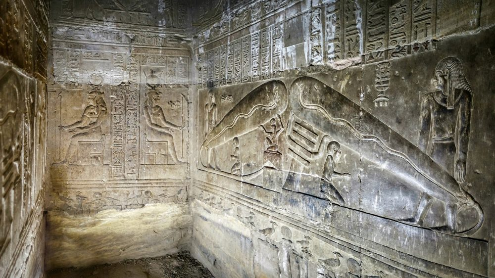 The interior of the Temple of Hathor showing the so-called Dendera Light. Shutterstock.