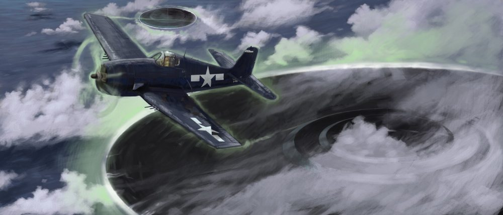 Artists rendering of an US Air Force plane and a UFO. Shutterstock.