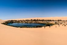 An image of the Ubari oasi in the Sahara desert, Fezzan, Libya, Africa. Shutterstock.
