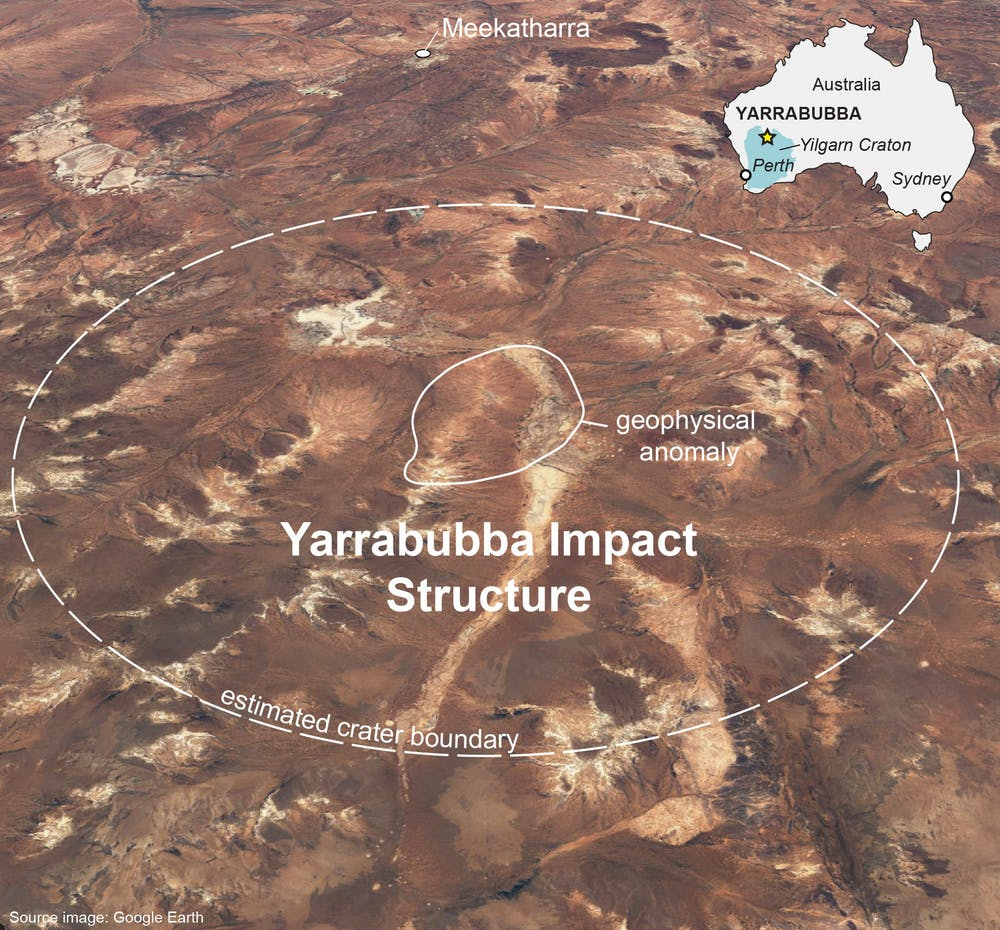 A view of the Yarrabubba impact crater: Image Credit: The Conversation.