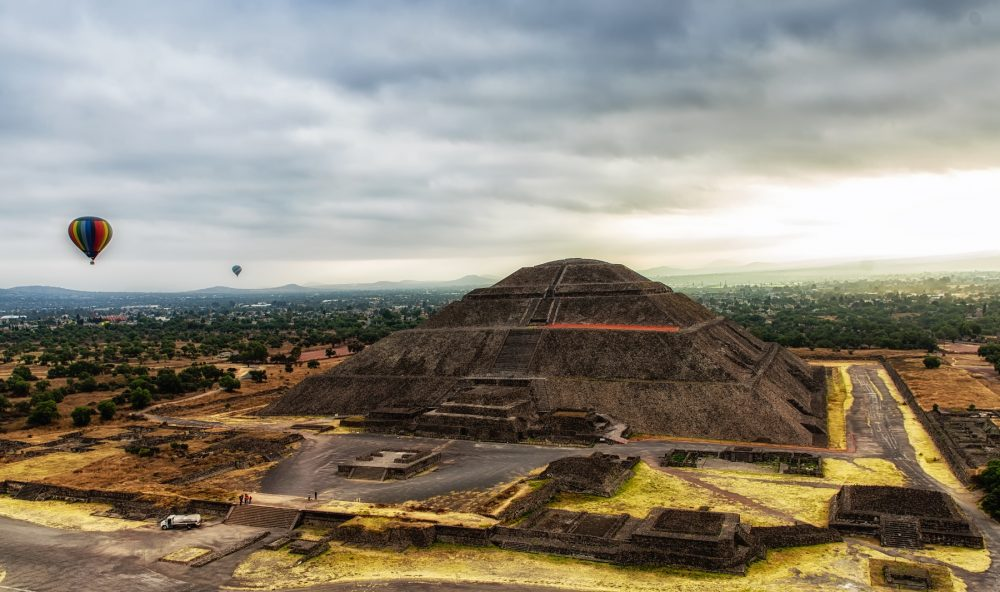 An aerial view of the Pyramid of the Sun at Teotihuacan in Mexico. Shutterstock.