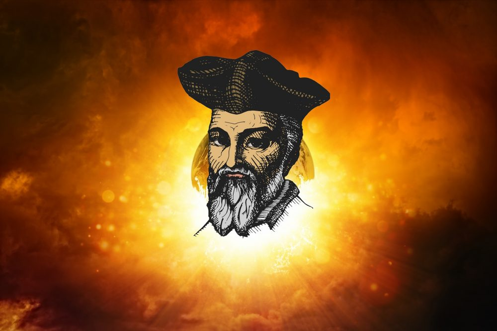 An artists rendering of Nostradamus on a background of the Earth and the cosmos. Shutterstock.